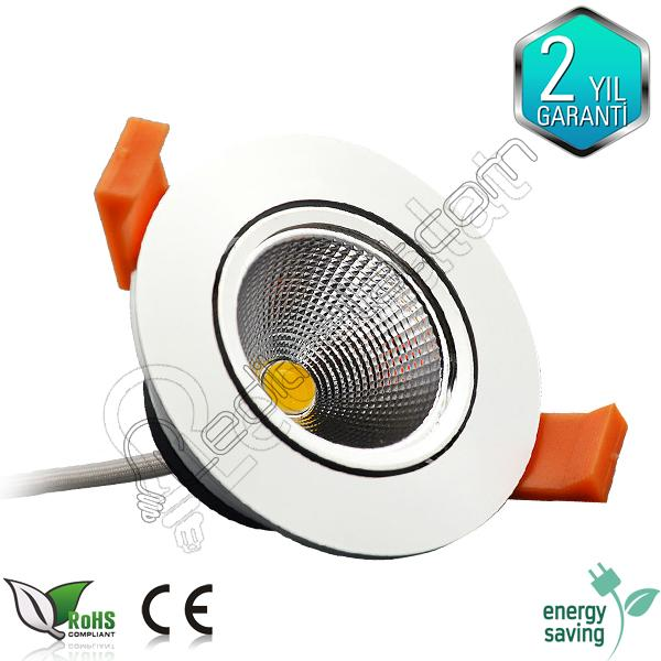 5 Watt Cob Led Downlight Beyaz Kasa
